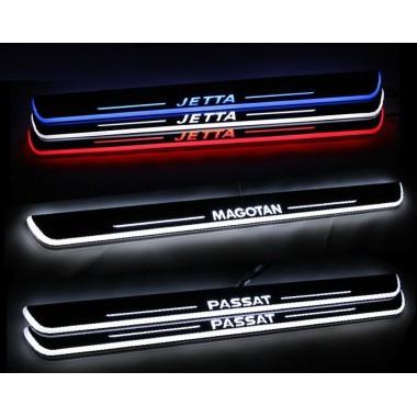Накладки на пороги с LED подсветкой для Фольксваген Golf / Jetta / Passat B6 / B7 / CC / Tiguan