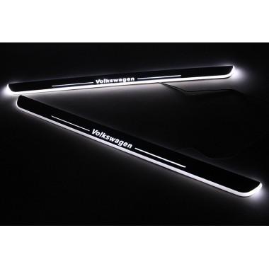 Накладки на пороги с LED подсветкой для Фольксваген Jetta / Passat / CC / Tiguan