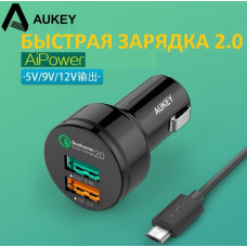 USB адаптер быстрой зарядки AUKEY Qualcomm Quick Charge 2.0A +2.4A