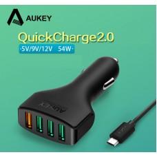 USB адаптер быстрой зарядки AUKEY Qualcomm Quick Charge 3 порта 2.4A +2.0A
