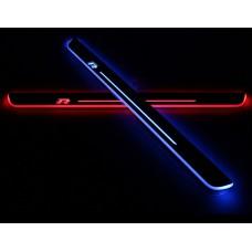 Накладки на пороги R-line с LED подсветкой для Volkswagen Scirocco