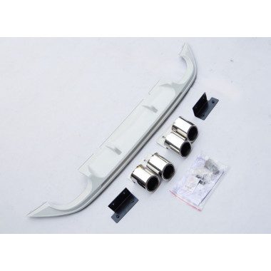 Диффузор заднего бампера + 4 декоративные фальш насадки на выхлоп Volkswagen Golf 7