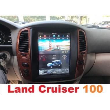 Андроид магнитола в стиле Тесла для Toyota Land Cruiser 100