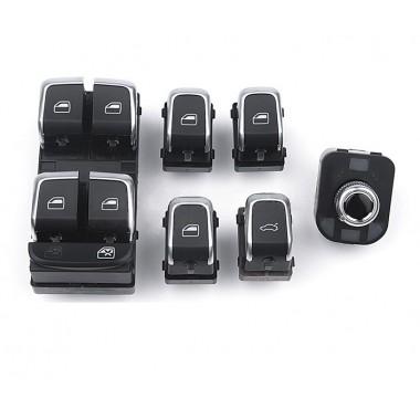 Комплект кнопок стеклоподъемников с хромом для Ауди A4, A5, A6, A8, Q5, Q7