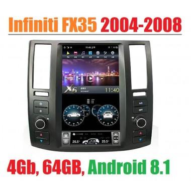 Андроид магнитола в стиле Тесла для Infiniti FX35 2004-2008