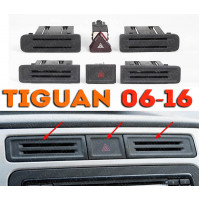 Заглушки и кнопка аварийки в рамку магнитолы для Фольксваген Тигуан