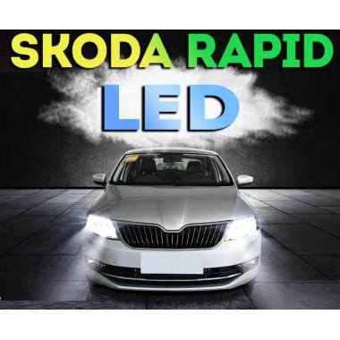 LED лампы в головную оптику Шкода Рапид